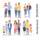 set of different couples and... | Shutterstock .eps vector #581090485