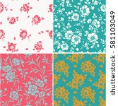 vector set of seamless pattern... | Shutterstock .eps vector #581103049