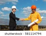 engineer handshake successful... | Shutterstock . vector #581114794