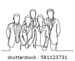 continuous line drawing of team ... | Shutterstock .eps vector #581123731