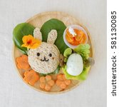easter bunny lunch box  fun... | Shutterstock . vector #581130085