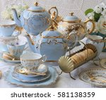 vintage baby blue teacups and