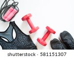 flat lay of red dumbbell  sport ... | Shutterstock . vector #581151307