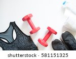 flat lay of red dumbbell  sport ... | Shutterstock . vector #581151325