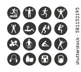 fitness icon set in circle... | Shutterstock .eps vector #581152195