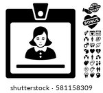 woman badge icon with bonus... | Shutterstock .eps vector #581158309