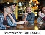 diverse people talk... | Shutterstock . vector #581158381