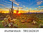 saguaros at sunset in sonoran... | Shutterstock . vector #581162614