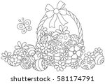 easter basket with painted eggs ... | Shutterstock .eps vector #581174791