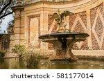 ornate stone fountain ... | Shutterstock . vector #581177014