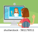 video chat between two girls | Shutterstock .eps vector #581178511