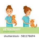 veterinarian with kitten | Shutterstock .eps vector #581178694