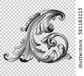 corner isolate vintage baroque... | Shutterstock .eps vector #581183215