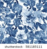 Stock photo seamless pattern hand painted watercolor illustration artwork flowers peony and irises cobalt blue 581185111