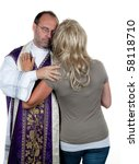 Small photo of A Catholic priest in love with his girlfriend. Example picture celibacy