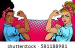 pop art sexy strong african... | Shutterstock .eps vector #581188981