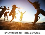 group of friends having fun at... | Shutterstock . vector #581189281