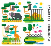 zoo animals and birds cartoon... | Shutterstock .eps vector #581189629