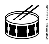 Snare drum or side drum with drumsticks musical instrument flat vector icon for music apps and websites