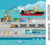 logistics in port infographics... | Shutterstock .eps vector #581191054