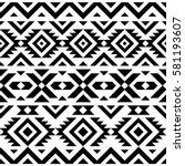 black and white tribal seamless ... | Shutterstock .eps vector #581193607