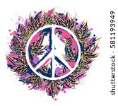 hippie peace symbol with...