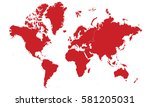 continents map red color | Shutterstock .eps vector #581205031