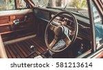 Retro Steering Wheel In Vintag...