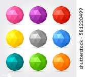 3d vector low poly spherical... | Shutterstock .eps vector #581220499