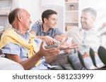 conversation between male... | Shutterstock . vector #581233999