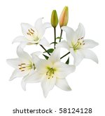 Spray Of Four White Lilies And...