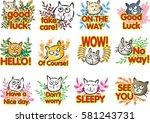 cat with letter talk sticker set | Shutterstock .eps vector #581243731