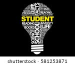 student bulb word cloud ... | Shutterstock .eps vector #581253871