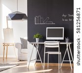blackboard paint flat design... | Shutterstock . vector #581256871