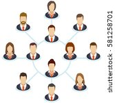 the interaction of the staff.... | Shutterstock .eps vector #581258701