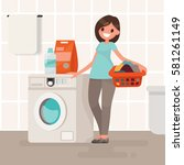 woman housewife washes clothes... | Shutterstock .eps vector #581261149