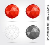 low poly abstract sphere. vector | Shutterstock .eps vector #581262241
