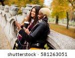 african american and caucasian... | Shutterstock . vector #581263051