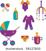 colorful baby set of toys and... | Shutterstock .eps vector #58127833
