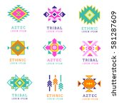 aztec or apache motif style... | Shutterstock .eps vector #581287609