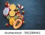 fresh fruits.exotic fruits on a ... | Shutterstock . vector #581288461