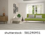 white room with sofa and green... | Shutterstock . vector #581290951