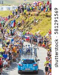Small photo of COL DU GLANDON, FRANCE - JUL 24: Technical car follows the cyclist Simon Yates of Orica-GreenEDGE Team riding on the road to Col du Glandon in Alps during the stage 18 of Le Tour de France 2015