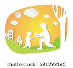 father and son in city parks.... | Shutterstock .eps vector #581293165