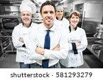 restaurant manager posing in...   Shutterstock . vector #581293279