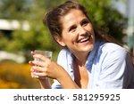 close up portrait of beautiful...   Shutterstock . vector #581295925