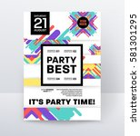 invitation disco party poster... | Shutterstock .eps vector #581301295