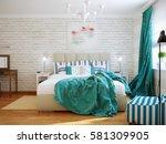 bright and cozy modern bedroom... | Shutterstock . vector #581309905