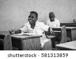 editorial use  boy at school in ... | Shutterstock . vector #581313859