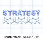 strategy text hand drawn with... | Shutterstock .eps vector #581314249